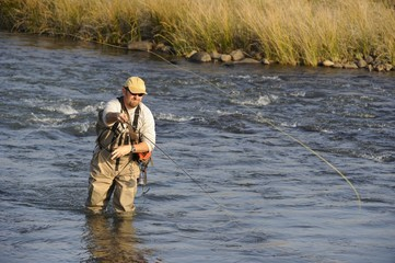 Flyfishing for trout in the Umzimkulu river,Kwazulu Natal