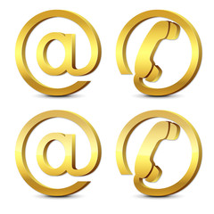 Set of 3d gold icons email and phone plus glossy