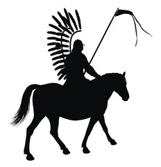 Medieval warrior with flag on horseback vector silhouette