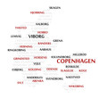 Denmark map made from cities with the country name
