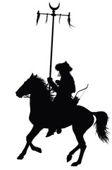 Nomad  warrior on horseback vector silhouette