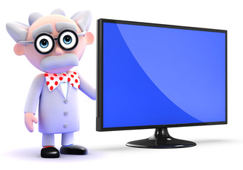 Scientist stands by widescreen television