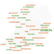 Ireland map made from cities with the country name