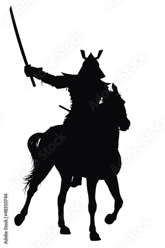 Samurai with sword on horseback vector silhouette