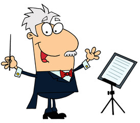 Caucasian Cartoon Music Conductor Man