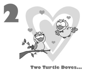 Black And White Number Two And Text By Two Turtle Doves
