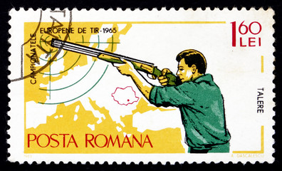 Postage stamp Romania 1965 Small-bore Rifle, Standing