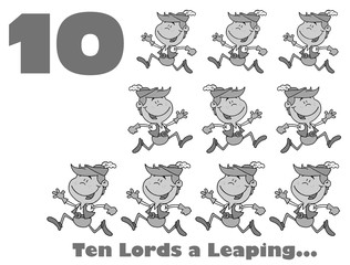 Black And White Number Ten And Text By Lords A Leaping