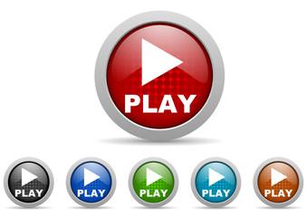 play vector icon set