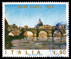 Postage stamp Italy 1975 Angels' Bridge, Rome, Vatican