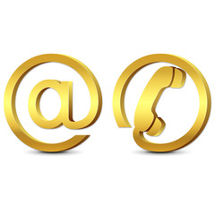 3d gold icons email and phone, set