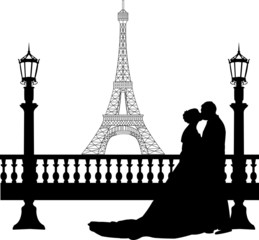 Wedding couple in front of Eiffel tower on Valentine s day