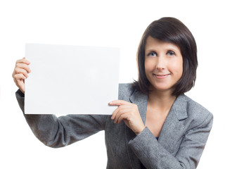 Business Woman Holding White Sign
