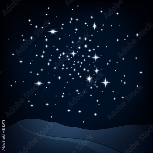 Night scene, star cluster above hills and path, vector