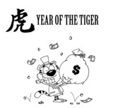 Outlined Wealthy Tiger Holding A Money Bag poster