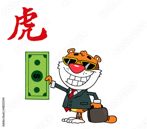 Animal Happy Tiger Keeps Dollar Аnd Business Briefcase