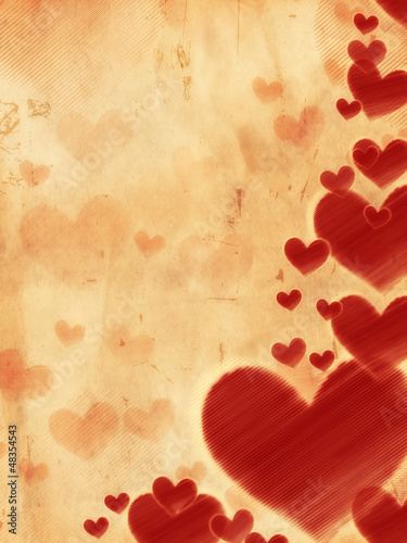 red striped hearts on old paper