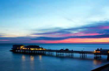 cromer pier at sunrise on english coast