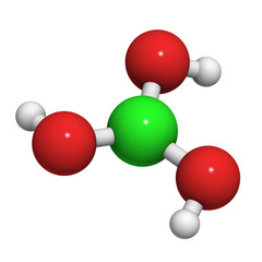 Boric acid molecule (H3BO3), chemical structure.