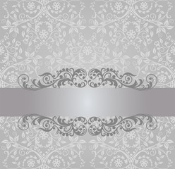 Seamless silver foliage wallpaper and vintage banner