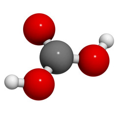 Carbonic acid (H2CO3) molecule, chemical structure.