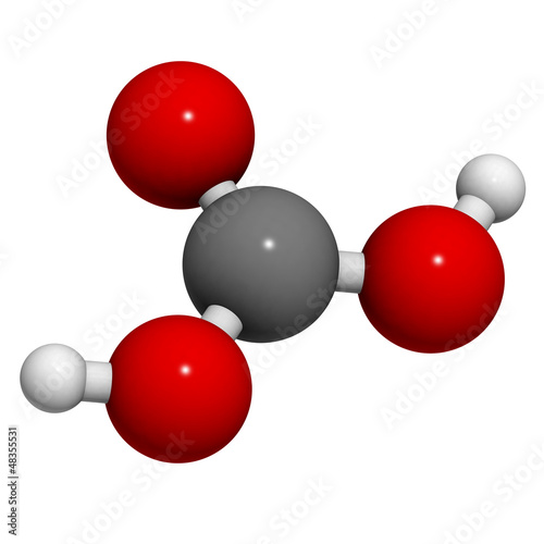 Carbonic acid (H2CO3) molecule, chemical structure.