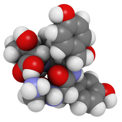 Gluten exorphin A5 molecule, chemical structure.