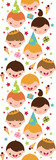 Vector kids at a birthday party vertical seamless pattern