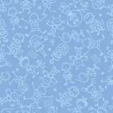 vector kids playing seamless pattern background with hand drawn