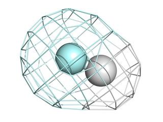 Hydrogen fluoride (HF) molecule, chemical structure.