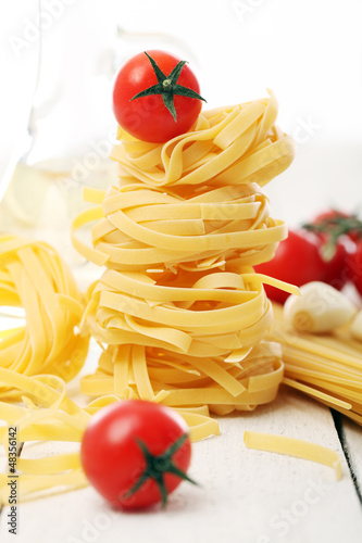 Spaghetti with vegetables isolated