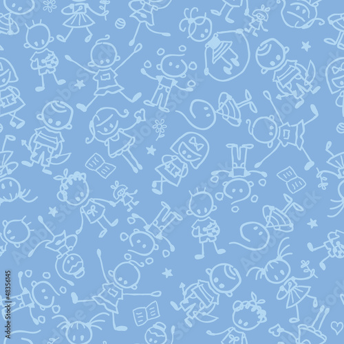 vector kids playing seamless pattern background with hand drawn - 48356145
