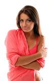 Beautiful calm brunette in pink