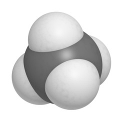 Methane (CH4) gas molecule, chemical structure. Methane is the m