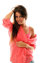 Beautiful calm brunette in pink