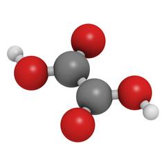 Oxalic acid molecule. Its salt, calcium oxalate, is the main com