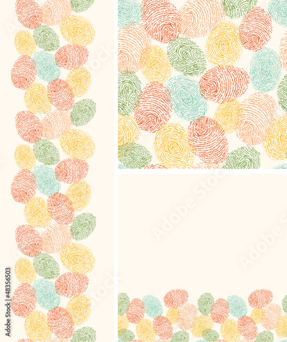 Vector colorful fingerprints seamless pattern background with