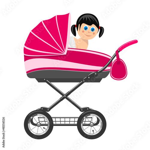 Cute baby girl sitting in stroller. Illustration
