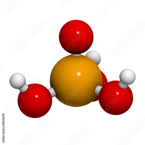 Phosphoric acid (H3PO4) molecule, chemical structure. Phosphoric