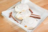 Cinnamon rolls with icing on baking  pan