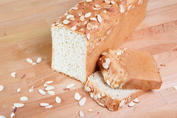 Fresh baked loaf of gluten free almond bread