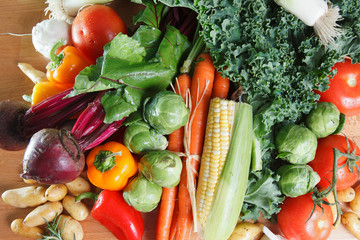 Assortment of colorful healthy raw vegetables