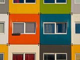 colorful cargo containers used as home by students