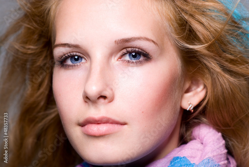 Close-up portrait of a young woman who dreams