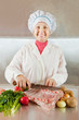 Cook  with raw meat and vegetables