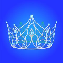 tiara women  wedding with blue jewels