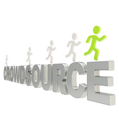 Human running symbolic figures over the word Crowdsource