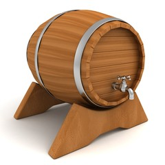 wooden wine storage barrel drum with tap