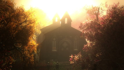 Autumn in Cemetery 3D render 4