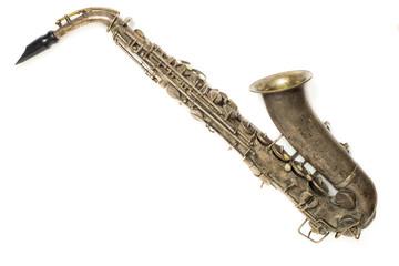 saxophone on the white background